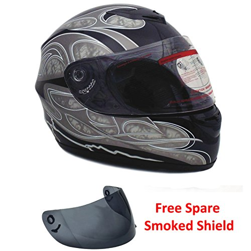 Motorcycle Full Face Helmet DOT Street Legal 2 Visors Comes with Clear Shield and Free Smoked Shield (XL, Gray) by MMG