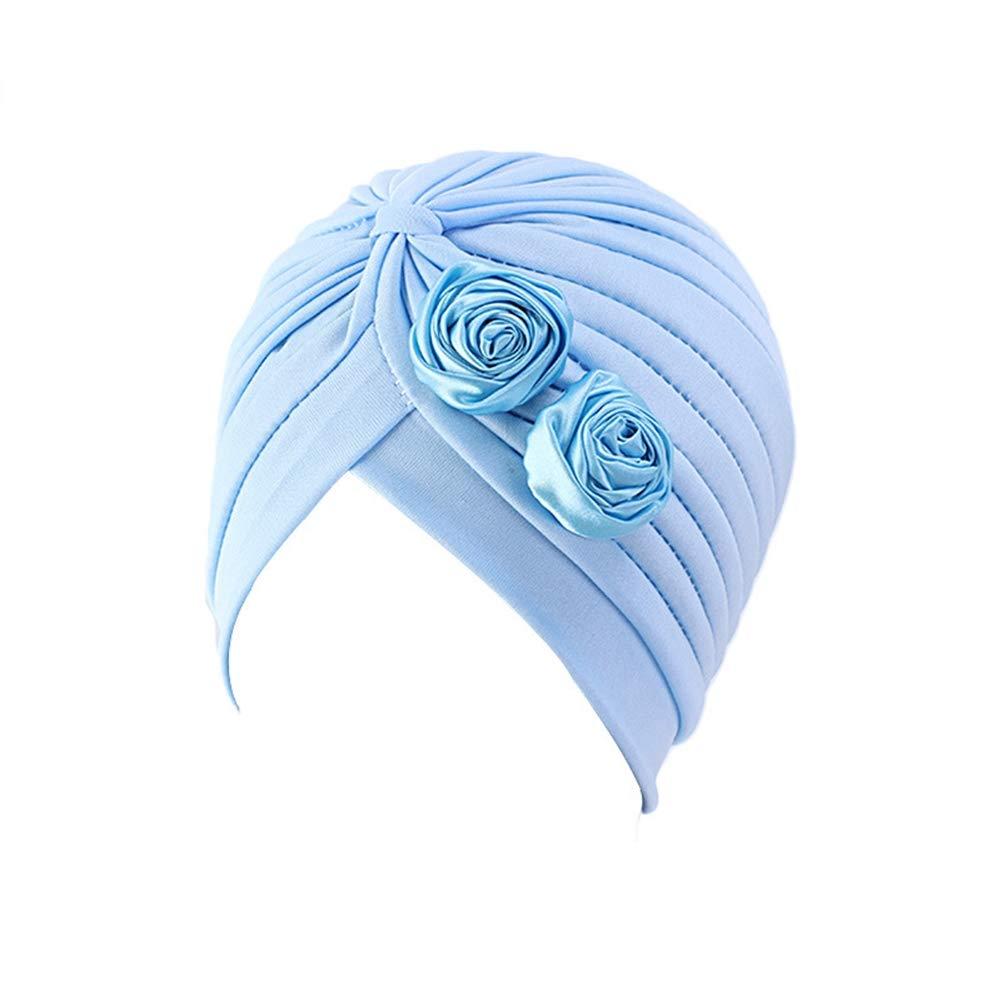 Ci-ONE Womens 3-Pack Elegant Soft Turban Headwear Cancer Hair Loss Chemo Caps Slouchy Beanie Hat with Flower