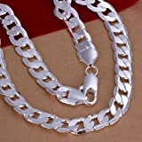 New Men's Fashion Jewelry 925 Sterling Silver 12MM Curb Chain Necklace 20'' by Klicnow