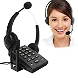 BizoeRade Call Center Corded Phone Dialpad Landline Telephones with Double Earphones Noise Cancellation Headset, PC Recording Function ideal for Offices Works and Home Jobs