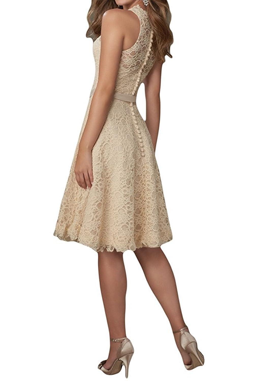 HWAN Frauen reizvolle V Ausschnitt Spitze Abschlussball Kleid Abend Kleider  mit einfacher Bowknot Sch?rpe: Amazon.de: Bekleidung