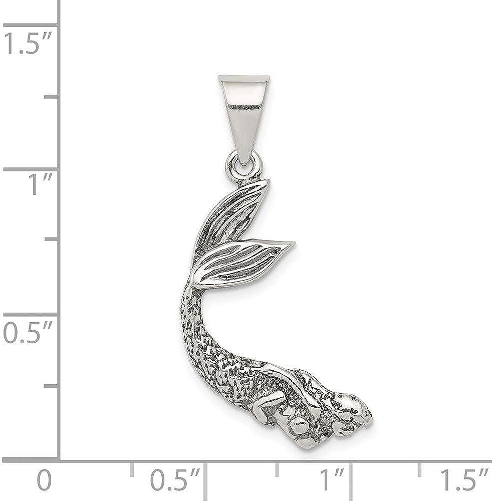 FB Jewels Solid 925 Sterling Silver Antiqued Mermaid Pendant