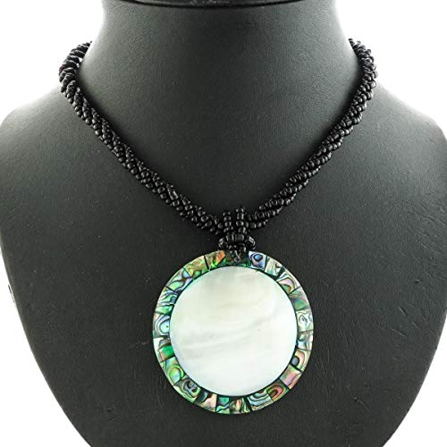 2'' Round PAUA Abalone Mother of Pearl Shell Black Beads Necklace YE-3078