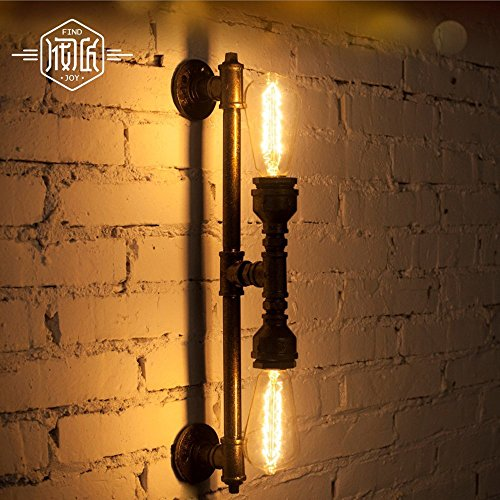 QREZ Wall Iron Water Pipe Wall Lamp Vintage Aisle Lights Loft Iron Wall Lamp Edison Incandescent Retro Light Bulb Industrial wind wall lamp
