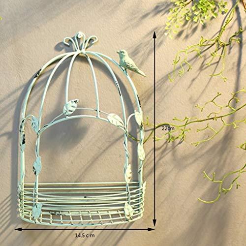 JZ-MD Flower Stand Retro Wrought Iron Racks Caravan Wall Hanging Flower Stand Flower Wall Decoration Garden Storage Rack (Size : Small)