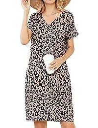 LittleMax Women Summer Short Sleeve Floral Print Pockets Sundress Casual Swing Dress