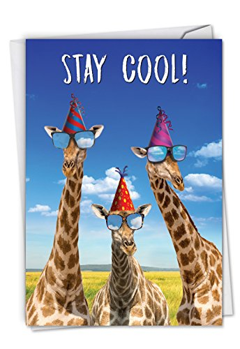 Wwe Birthday Cards (Cool Giraffes Funny Birthday Card with Envelope 4.63 x 6.75 inch - Happy Birthday Greeting Card for Kids, Boy, Girl - Colorful Zoo Animal Congratulations and Bday Note Card -)