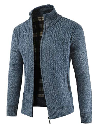 Zip Casual Up Warm Long Sleeve TTYLLMAO Sweater Cardigan Men's Blue Jacket Cable Knit E5qXwxI