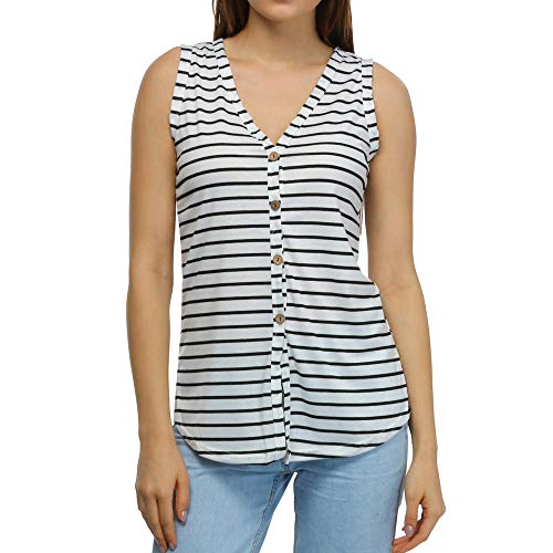 DONTAL Womens Fashion V-Neck Button Cotton Stripe Sexy Vest Fashion Sleeveless T-Shirt White