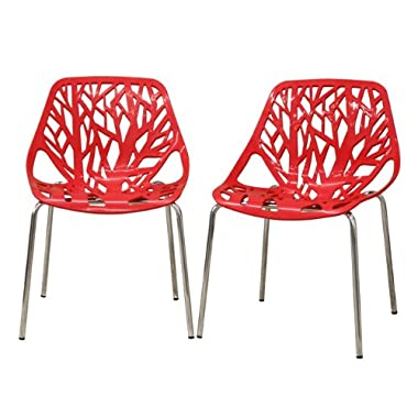 Fancierstudio Birch Sapling Plastic Accent Dining Chairs Red Tree Chair Tree Of Life Chair Set Of 2 Chairs D014R