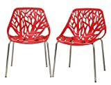 Fancierstudio Birch Sapling Plastic Accent Dining Chairs Red Tree Chair Tree Of Life Chair Set Of 2 Chairs D014R Review