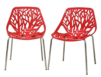 Fancierstudio Birch Sapling Plastic Accent Dining Chairs Red Tree Chair  Tree Of Life Chair Set Of
