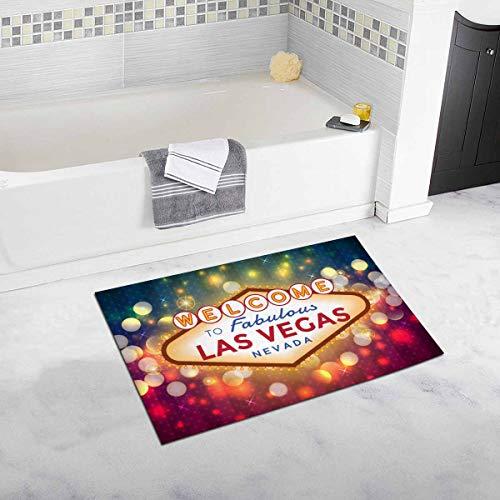 InterestPrint Sparkling Las Vegas Sign American City Home Decor Non Slip Bath Rug Set Absorbent Floor Mats for Bathroom Tub Bedroom Large Size 20 x 32 Inches