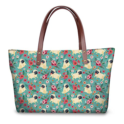 Coloranimal Funny Pug Flower Puzzle Ladies Top-handle Crossbody Tote Bags