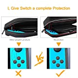 Deruitu Nintendo Switch Case - Fits Original AC Wall Charger - carrying case with 29 Games and 2 SD Cards, Carrying Handle, Special Zipper, Great for Travel and Lifetime Warranty - Black