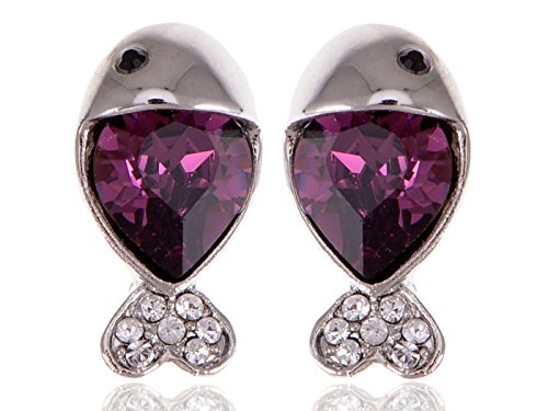 (Alilang Womens Swarovski Crystal Element Silver Tone Purple Nautical Fish Mini Stud)