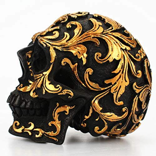 DEBRICKS Retro Resin Black Skull Head Statues Golden Carving Skeleton Sculptures Desktop Crafts Halloween Home Decoration Accessories -