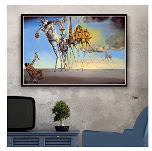 DPFRY Cuadro En Lienzo Salvador Dali Surrealista Resumen Retro Wall Art Poster Replica Y Grabado Imagen De Pared para Sala De Estar Decoracion para El Hogar Kh50Y 40X60Cm Sin Marco