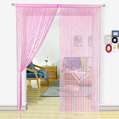 - HSYLYM String Curtain with Pearl Beads Dense Fringe Beaded Door Tassel Curtains (100x200cm,Pink)