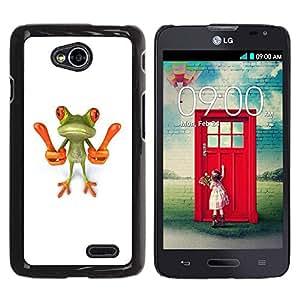 Be Good Phone Accessory // Dura Cáscara cubierta Protectora Caso Carcasa Funda de Protección para LG Optimus L70 / LS620 / D325 / MS323 // Smart Frog Funny Cartoon Minimalist White
