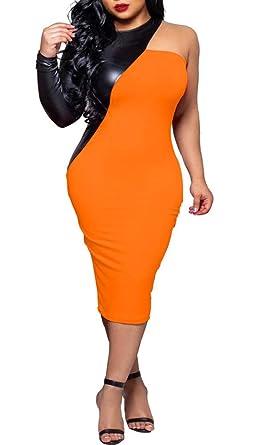 Womens Sexy Asymmetrical Color Block Patchwork Bodycon Pencil Midi Party  Dress Clubwear Orange 499c45e36f1e
