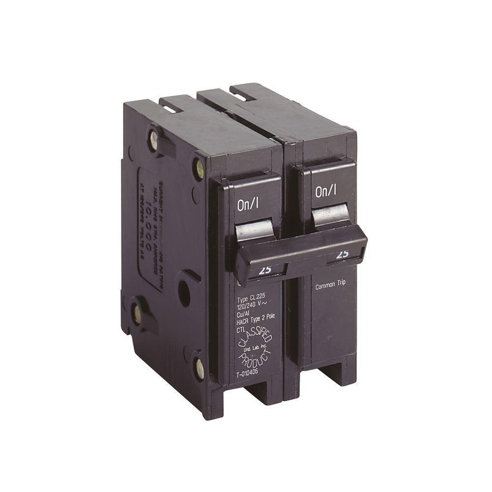 Eaton CL225 Plug-On Mount Type CL Replacement Circuit Breaker 2-Pole 25 Amp 120/240 Volt