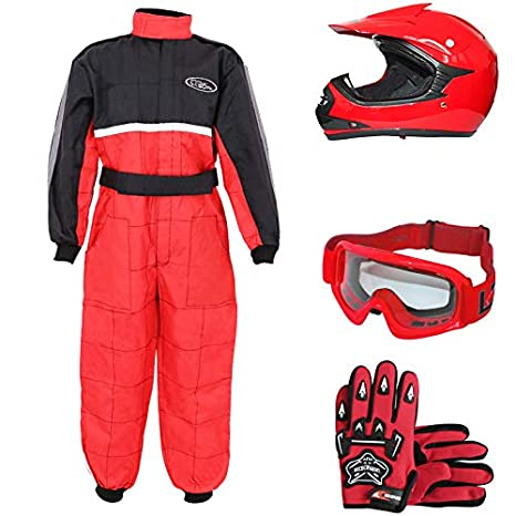 Leopard LEO-X15 Rojo Casco de Motocross para Niños (S 49-50cm) + Gafas + Guantes (S 5cm) + Traje de Motocross para Niños - S (5-6 Años)