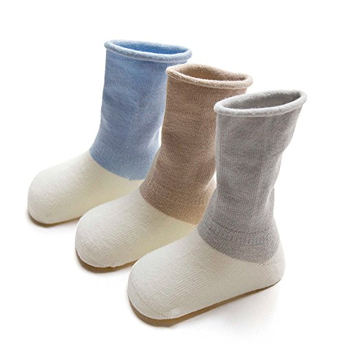 FQIAO Cute Cotton Unisex Baby Socks Long Tube Thick Warm And Soft Holders 3 Pack Gift for Newborn And Baby-M 1-3 Years