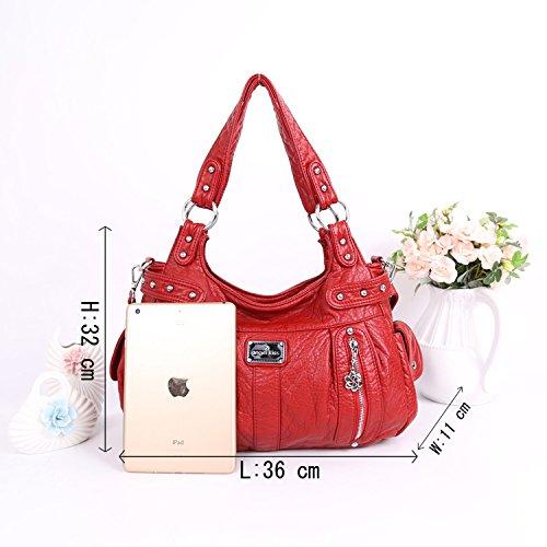 2 Cremalleras Superiores Bolsillos Multi Bolsos Lavados Bolsos de Cuero Bolsas de Hombro Mujer AK19244/2 Rojo