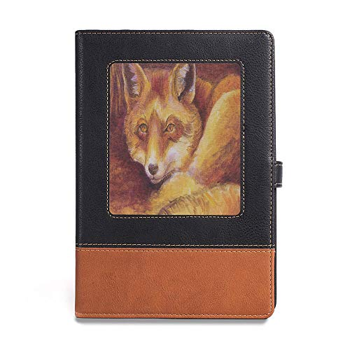 "Bound Notebook,Fox,A5(6.1"" x 8.6""),Leather Binder Notebook,Monochromatic Fox Resting Painting Style Display Vibrant Animal"