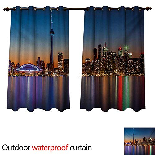 WilliamsDecor Landscape Outdoor Curtains for Patio Sheer Urban Theme A Cityscape View of Toronto and The Skyscrapers at Dusk Digital Print W72 x L63(183cm x 160cm) (Toronto Sheer Curtains)