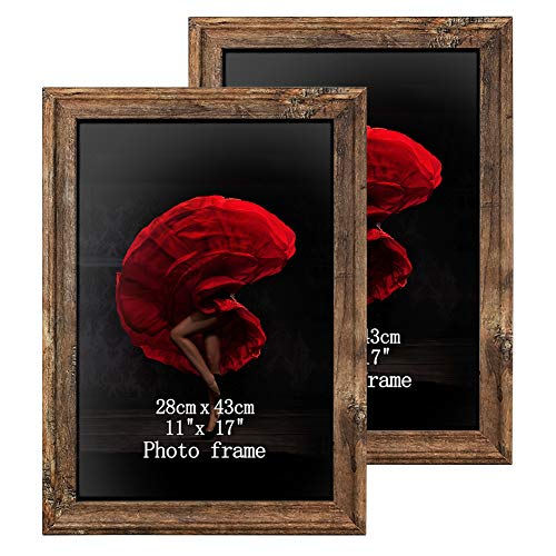 11 x 17 Poster Picture Frames Set of 2 Vintage Brown Wood Rustic Art 17x11 Photo Frame for Vertical or Horizontal Wall Hanging (Wood 11x17 Frames Picture)
