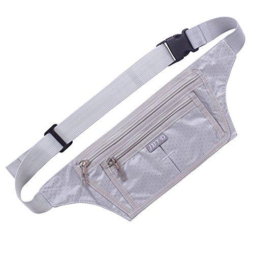 Naoki Outdoor Sports Running Jogging Cycling Hiking Camping Climbing Travel Ultra-thin Waterproof Polyester Waist Pack / Bag Runner Belt(Silver) (L S3 Mini)