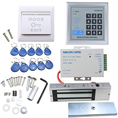 IMAGE® Full set RFID Door Access Control system Kit With 500kg 1100LBs Electric Magnetic lock 110-240V AC to 12v DC 3A 36w Power Supply Proximity Door Entry keypad 10 Key Fobs EXIT Button