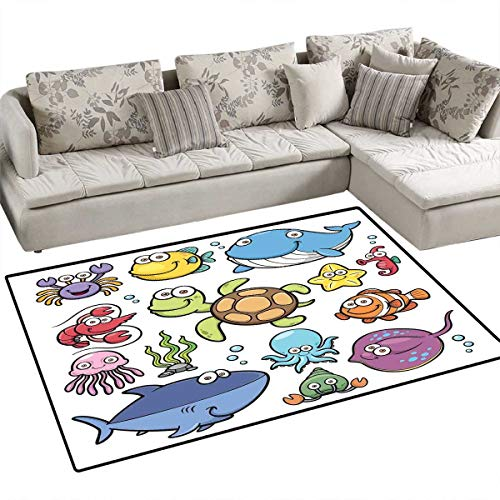 - Whale Anti-Static Area Rugs Ocean Animals Collection Cheerful Swimming Clown Fish and Puffer Fish Shrimp Artwork Children Kids Nursery Rugs Floor Carpet 4'x6' Multicolor