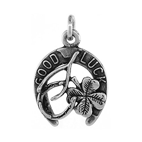 Charm Horseshoe Lucky Silver - Sabrina Silver Irish Lucky Charm Pendant Horseshoe Clover Wishbone Antiqued Finish 3/4 inch