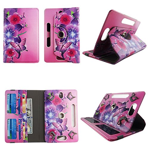 Flower Butterfly Pink tablet case 7 inch for Ellipsis 4g LTE android tablet cases 360 rotating slim folio stand protector pu leather cover travel e-reader cash slots (Ellipsis Butterfly 7 Case)