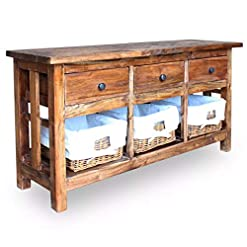 Farmhouse Buffet Sideboards Festnight Vintage Buffet Sideboard, Antique Handmade Storage Cabinet Table with 3 Drawers 3 Removable Baskets, Solid… farmhouse buffet sideboards