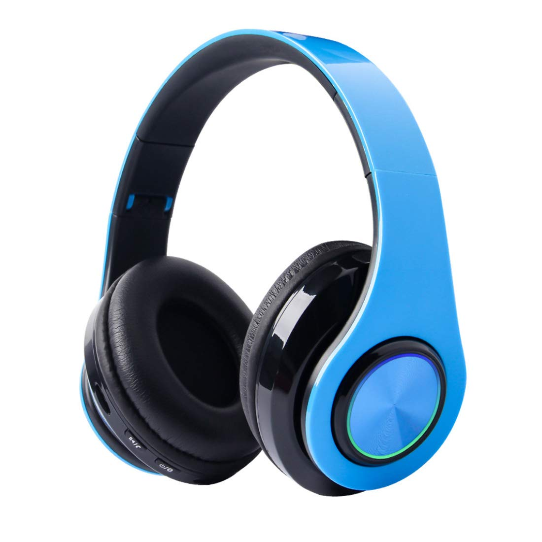 Bluetooth Headphones Over Ear, Deep Bass Hi-Fi Stereo Wireless Headset, Foldable, Comfortable Protein Earpads, w/Built-in Mic for Travel Work/Wired Mode PC/Cell Phones/TV - Blue