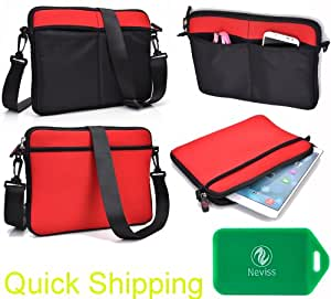 Black/Red Neoprene carrying bag with pockets- Universal design compatible for Asus Transformer Book Trio