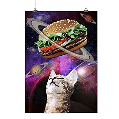 Space Burger Cat Fun Kitten Eat Matte/Glossy Poster A0 A1 A2 A3 A4 | Wellcoda