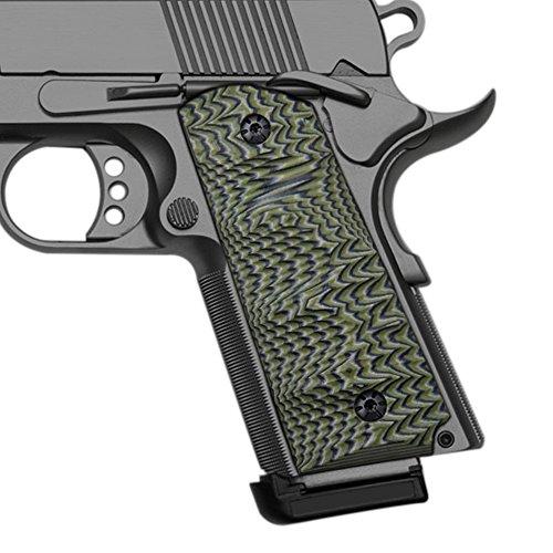 Cool Hand 1911 Grips, Finger Cut, Compact/Officer, G10 OD Green/Black