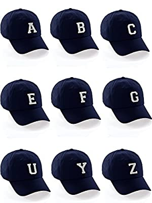 I&W Hatgear Customized Letter Intial Baseball Hat A to Z Team Colors, Navy Cap Black White