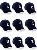 Custom Dad Hat A-Z Initial Raised Letters Classic Baseball Cap - Navy Hat with Black White Letter