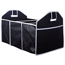Car Trunk - ZWOOS Tidy Heavy Duty Organizer Multi Compartment Back Seat Collapsible Folding Storage
