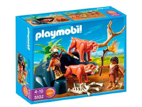 Playmobil - 5102 - Jeu de construction - Tigres à dents de sabre et chasseurs