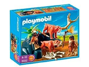 Playmobil - Tigres dientes de sable con cazadores, set de juego (5102)