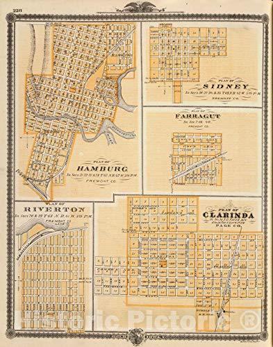 - Historic Map | 1875 Plans of Hamburg, Sidney, Farragut, Riverton and Clarinda, Iowa. | Vintage Wall Art | 35in x 44in