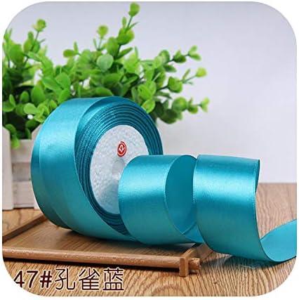 kawayi-桃 6/10/15/20/25/40 / 50mmサテンリボンDIY人工シルク工芸用品ソーイングアクセサリースクラップブッキング素材ギフトボックスベルト-Peacock blue-40mm