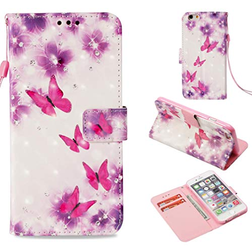 iPhone 6S Plus Case,Fashion Magnetic Closure Pu Leather 3D Printing Wallet Case Anti-Scratch Shock Absorbent Kickstand with Inner Soft TPU Bumper Carring Case for Apple iPhone 6S Plus -Butterfly Pink (Lsu Watch And Wallet)